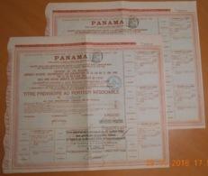 """LOT De 2 TITRES PROVISOIRE DE 1 OBLIGATION """" PANAMA """" Du 26 Juin 1888 - Navy"""