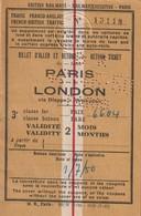 Rare Titre De Transport Paris-Londres Validité Deux Mois 1950 - Abonnements Hebdomadaires & Mensuels