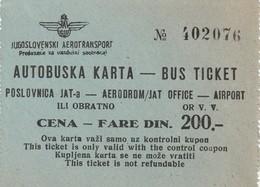 Rare 2  Tickets Autobus Jugoslavie - Bus