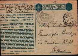 71219) INTERO POSTALE IN FRANCHIGIA MILITARE MEDAGLIE D'ORO SERGENTE FERRUCCIO FERRARI-18-2-1943 - Entiers Postaux
