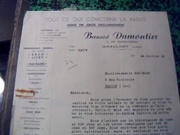 Facture  Lettre  B. Dumontier Vente En Gros Radio A Graulhet Tarn Annee 1950 - Altri