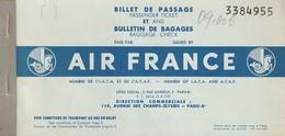 Rare Billet De Passage Et Bulletin De Bagages Air France Paris Sarajevo - Europe