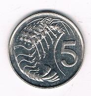 5 CENTS 1999 CAYMAN ISLANDS /8541/ - Monnaies
