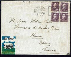 DANEMARK - 1943 - Affr. Christian X à 40 Ore Sur Enveloppe De Horsens Pour Fleury (FR) - Vignette - Contrôle De Censure. - 1913-47 (Christian X)