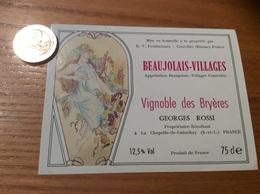 Etiquette Vin «BEAUJOLAIS VILLAGES - GEORGES ROSSI - LA CHAPELLE-DE-GUINCHAY (71)» Illustration CARINNE G - Beaujolais