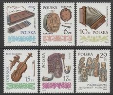 SERIE NEUVE DE POLOGNE - INSTRUMENTS DE MUSIQUE DU FOLKLORE POLONAIS N° Y&T 2711 A 2716 - Musique