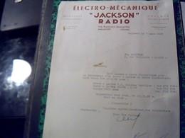 Facture  Ets ELECTRO MECANIQUE JACKSON RADIO A Malakoff Annee 1950 - Altri