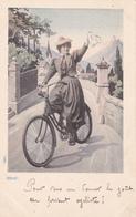 CPA Précurseur Cyclisme Femme Cycliste Vélo Bicyclette Cycling Radsport Illustrateur (2 Scans) - Cyclisme