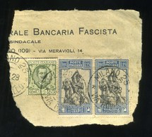 1928 Emanuele Filiberto  L 1,25 X 2 + Cent. 25 Floreale Su Frammento - Usati