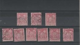 Lot Collection 9 Timbres Sage Yvert N° 104 N Sous B Pour étude - 1876-1878 Sage (Type I)