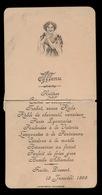 MENU 1898 ADEL NOBLESSE - VICONTESSE LANSBERG   - BESCHADIGD  14.5 X 7.5 CM  - 2 SCANS - Menus