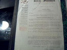 Facture Lettre IDEAL STANDARD Radiateur/chaudieres Paris Bd Haussmann Annee 1952 - Elettricità & Gas