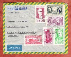 Luftpost, Einschreiben Reco, Eisenbahn U.a., Blumenau Nach Pullach 1954 (61409) - Brasilien