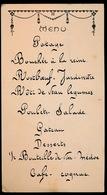 MENU 1913      17.5 X 9.5 CM - Menus