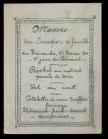 MENU 25 FEVRIER 1900  GAND      15.5 X 11.5 CM - Menus