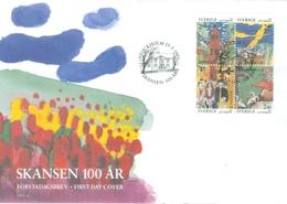 Sweden 1991; FDC Michel 1668-1671, 100 År Skansen. - FDC