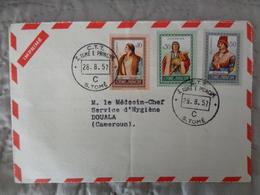 LETTRE ST TOME &PRINCIPE DE 1957 AVEC 3 TIMBRES DIFFERENTS - Sao Tome Et Principe