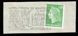 FRANCE 1970 - 1 FLAMME FLAME Marcophily Marcophilie Moto-cross De Maupas Motorcycles Motos Motorbikes Motocyclettes Moto - Moto