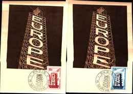71225) FRANCIA \ 2 CARTOLINE MAXMUM EUROPA CEPT 1956 SERIE COMPLETA - Maximum Cards