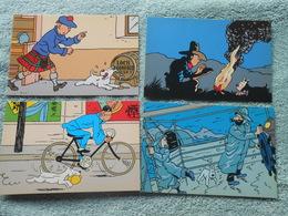 6 Cp Tintin Offert Par La Librairie + Une Enveloppe Et Une Carte - Bandes Dessinées
