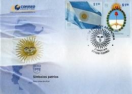 SOBRE SIMBOLOS PATRIOS OBLITERES DIA DE EMISION 2010 ARGENTINA FDC -LILHU - Enveloppes