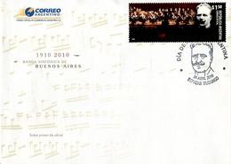 SOBRE BANDA SINFONICA DE BUENOS AIRES 1910-2010 OBLITERES DIA DE EMISION 2010 ARGENTINA FDC -LILHU - Musique