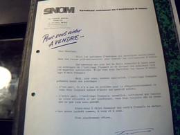 Factures  SNOM Syndicat Nationalde L'outillage A Main A Paris Av.  Hoche Annee 50 - Altri
