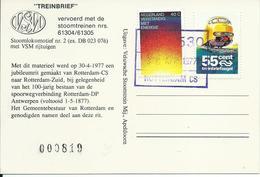 Postcard Met Treinbriefzegel Afgestempeld Rotterdam CS 1977 - Treinen