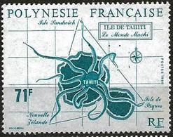 French Polynezia 1990 Scott 537 MNH Tahiti Map - French Polynesia
