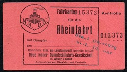 C0283 - Dampfer Fahrkarte Fahrschein - Rheinfahrt Neue Kölner Dampfschifffahrts Gesellschaft Weber & Söhne - Transporttickets
