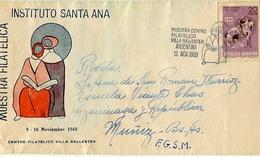SOBRE MUESTRA FILATELICA INSTITUTO SANTA ANA OBLITERES 1968 VILLA BALLESTER ARGENTINA SPC CIRCULADO -LILHU - Expositions Philatéliques
