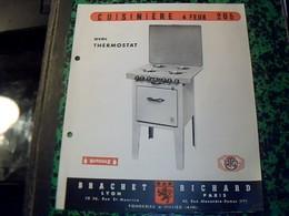 Publicite Ets BRACHET RICHARD FONDERIE A Villieu   Ain Cuisiniere 4 Feux A Thermostat  Annee 50 Avec Plan Technique - Publicidad