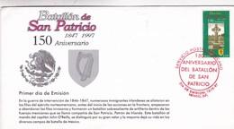 BATALLON DE SAN PATRICIO 150 ANIVERSARIO. FDC 1997 MEXICO - BLEUP - Militaria