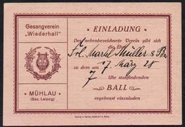 C0286 - TOP Mühlau - Gesangverein Wiederhall - Einladung Eintrittskarte Ball - Stempel Rückseite - A Seidler Ottendorf - Eintrittskarten
