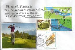 Réintégration Du Golf En 2016 à Rio Olympics,  Timbre Rio 2016, Sur Lettre Adressée Andorra, Avec Timbre à Date Arrivée - Golf