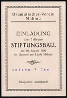 C0287 - TOP Mühlau - Stiftungsball - Einladung Eintrittskarte - Gasthof Zur Linde - Programm - Albert Seidler Ottendorf - Eintrittskarten