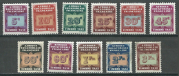 A.E.F. Timbres-taxe YT N°1/11 Neuf/charnière * - A.E.F. (1936-1958)