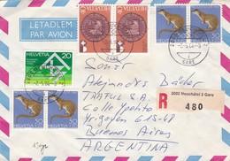 AIRMAIL CIRCULEE SWITZERLAND A ARGENTINE, STAMPS A PAIR,RECOMMANDE- BLEUP - Luchtpostzegels