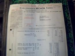 Facture Annee 1955 ETS BéCHON FRéRES A THIERS PUY DE DOME - Cars