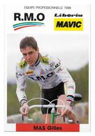 CARTE CYCLISME GILLES MAS TEAM RMO 1988 - Cycling