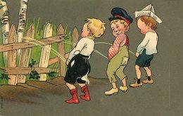 TRES NIÑOS ORINANDO SOBRE UNA CERCA / THREE BOYS PEEING - ILLUSTRATION POST CARD POSTAL SER 543 CIRCULATED 1907 -LILHU - Humorkaarten
