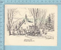 """Joyeux Noel -Cartes Signées, Massawipi Quebec, Par Edward Brown D'ayer's Cliff, Sur Papier Texturé """" Fait Main ?"""" - Kerstmis"""