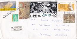 ENVELOPPE CIRCULEE 1990 BARCELONA A BUENOS AIRES. MIXED STAMP. RECOMMANDE, AUTRES MARQUES - BLEUP - Cartas