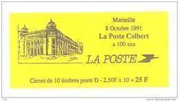 """CARNET 2712-C 1 Marianne De Briat Lettre D """"MARSEILLE, LA POSTE COLBERT A 100 Ans"""" SOUS FACIALE. A Saisir. - Uso Corrente"""