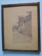 """Dessin Crayon Sur Papier Fin """"La Maison Du Toît De Chaume Rue St Vincent, Montmartre"""", Paris Par G.BECKER 1914 - Drawings"""