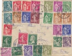 LETTRE PAR AVION.  DE SEINE ET OISE VILLENEUVE ST GEORGES POUR ORAN ALGERIE. 27 TIMBRES / 521 - Postmark Collection (Covers)