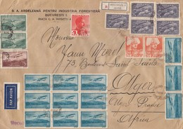 COVER.  PAR AVION. REGISTERED BUCURESTI ROMANIA TO ALGER FRENCH ALGERIA. 25 STAMPS  / 6000 - Timbres