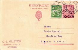 Postal History: Sweden Postal Stationery Card With Revalued Stamp - Sweden