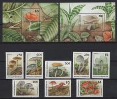 Barbuda (1990) Yv. 1070/77 + Bf. 146/47 - BARBUDA MAIL Ovpt. /  Mushrooms - Champignons - Pilzen - Champignons