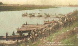 PONT DE BATEAUX CONSTRUIT SUR LA MARNE - Guerra 1914-18
